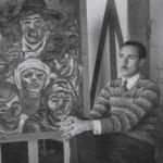 """No """"Hospitalillo"""" o seu estudio de Lalín nos anos trinta, diante de """"Carnavalada"""", 1931 que actualmente se exhibe na Colección permanente da Fundación Laxeiro en Vigo, como parte do legado que o artista doou á cidade de Vigo."""
