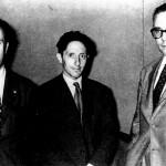 De esquerda a dereita: Laxeiro, Isaac Díaz Pardo e Luis Seoane, en Bos Aires en 1955