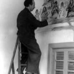 En Vigo nos anos corenta, pintando o mural da cantina do porto de Vigo, hoxe desaparecido