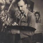 """Pintando """"Cencerrada"""" en 1950, actualmente en la Colección Novacaixagalicia"""
