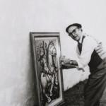 """Restaurando su obra titulada """"Lucha"""", 1958, también conocida como """"La detención del demonio"""", en Argentina."""