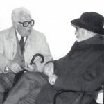 El escritor Francisco Fernández del Riego en 1995, en el 87 cumpleaños de Laxeiro