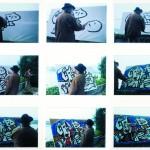 """Pintando """"O nacemento do Océano"""" en 1992 durante el encuentro """"Baiona, horizonte atlántico"""" en la casa del Dr. Román Pereiro, Baiona, Pontevedra"""