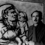 """El artista delante de su obra """"Maternidad"""" (1948)"""