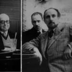 Recién llegado a Buenos Aires, en el Café Berna en 1952, con Manuel Fondevila, entonces director de El Heraldo de Madrid y otro amigo.