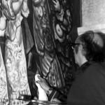 """En Pontevedra, acabando la versión en lienzo de """"El Manantial de la Vida"""" en 1973"""