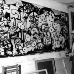 """En 1968 acabando su obra """"La vida"""", actualmente en la Colección permanente de la Fundación Laxeiro"""